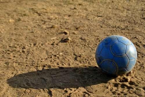 Football Soccer Ball Old Earth Soil Game Sport