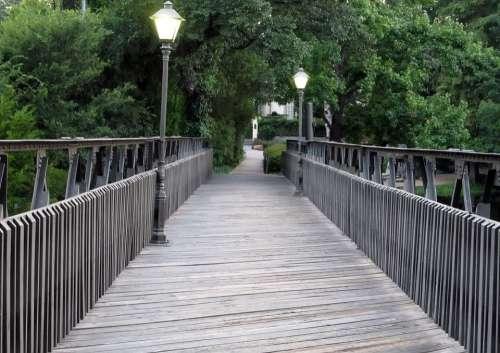 Footbridge Lamp Posts Bridge Path Wood Planks