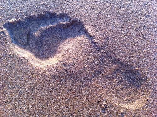 Footprint Sand Beach Foot Summer Walk Travel