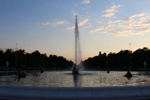 Fountain Water Water Jet Water Fountain Evening