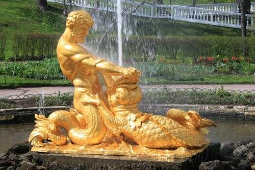 Fountain Water Spout Statue Bronze Man Triton