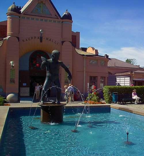 Fountain Statue Market Hall Kuopio Finnish