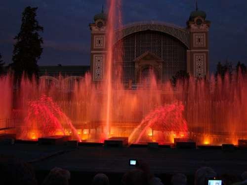 Fountain Lights Prague Water Night Illuminated