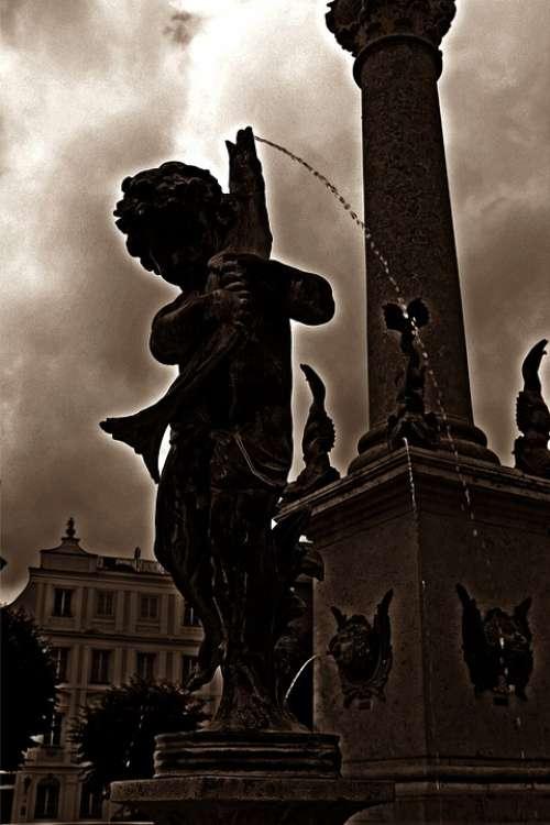 Fountain Cherub Threatening Figure Statue Gloomy