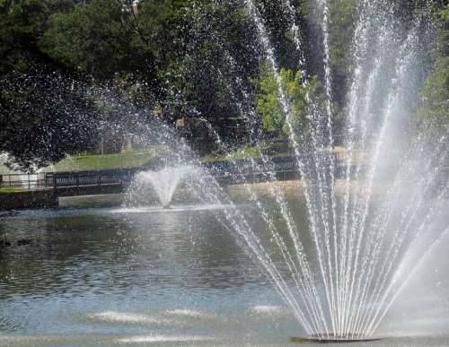 Fountains Lake Water Garden Park Recreation Spray
