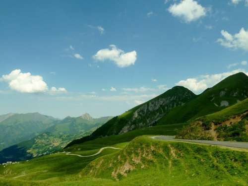 France Landscape Mountains Scenic Sky Clouds Road