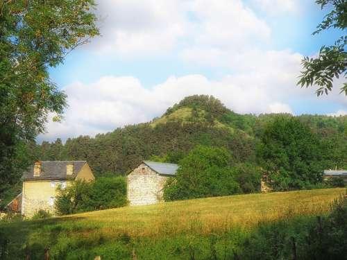 France Landscape Scenic Mountain Sky Clouds Farm