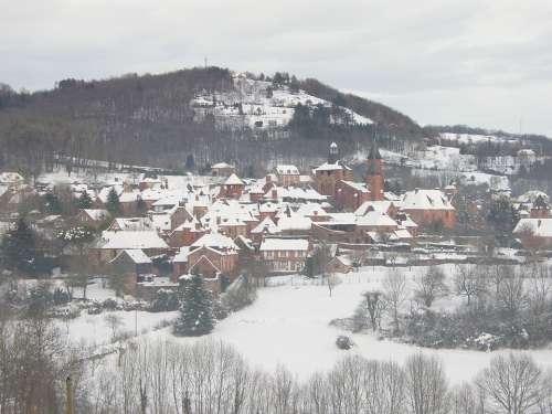 France Winter Village Snow Landscape Valley