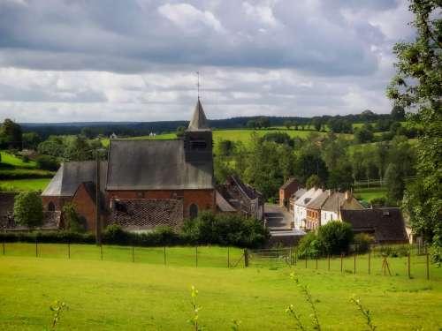 France Church Village Sky Clouds Landscape Scenic