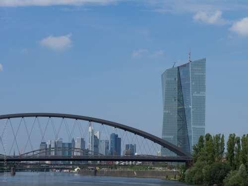Frankfurt Bridge Main Water Summer Skyscraper