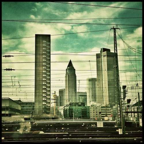 Frankfurt City Skyscrapers Skyline Clouds Sky