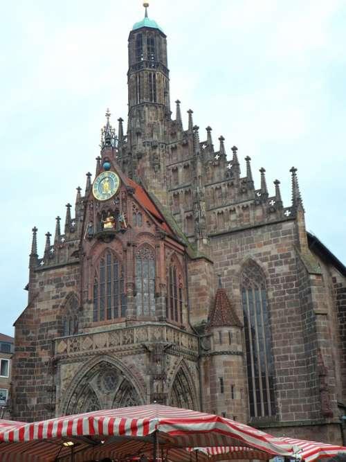 Frauenkirche Market Market Umbrellas Church