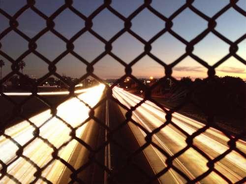Freeway Highway Traffic Night Lights Head Lights