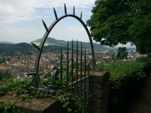 Freiburg Schlossberg View Wall Iron Gate Pointed