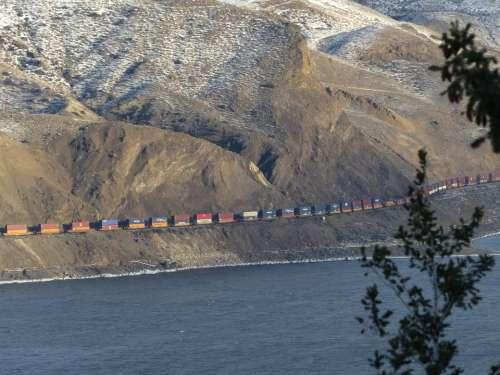 Freight Train Train Transportation Kamloops Lake