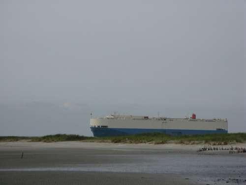 Freighter Ship Borkum North Sea Island Beach