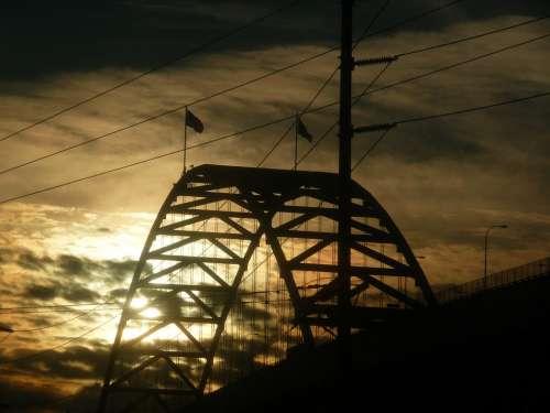Fremont-Bridge Bridge Portland Sunset Sun Clouds