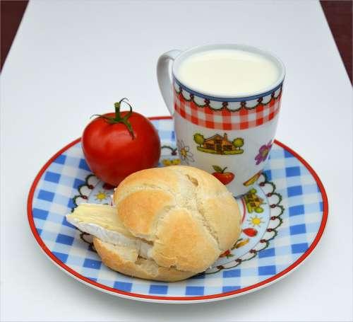 French Cheese Bread Milk Breakfast Food Tomato