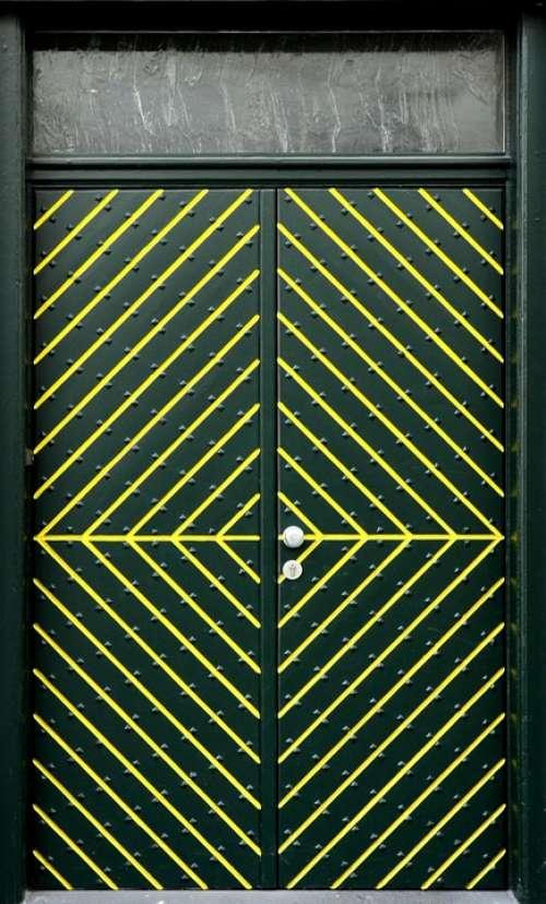 Front Door Door Input Building Green Yellow