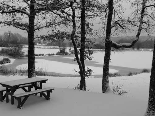 Frozen Lake Snow White Winter Picnic Table