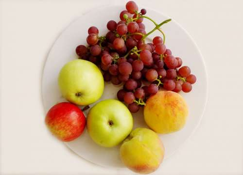 Fruit Plate Fruit Apple Grapes Healthy