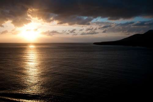 Fuerteventura Sea Water Sun Sunset Sky Clouds