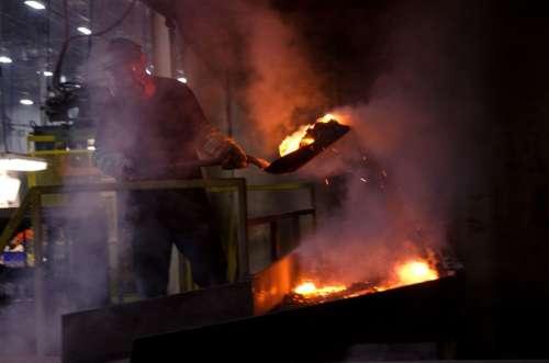 Furnace Worker Shovel Shoveling Aluminum Plant