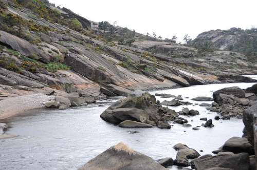 Galicia Ézaro Beach Landscape Blue Nature Beauty