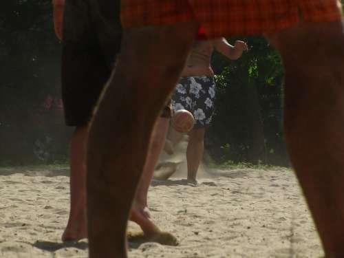 Game Ball Sand Legs Football Beach
