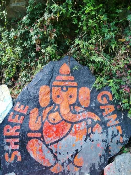 Ganesha Deity India Art Hindu Orange