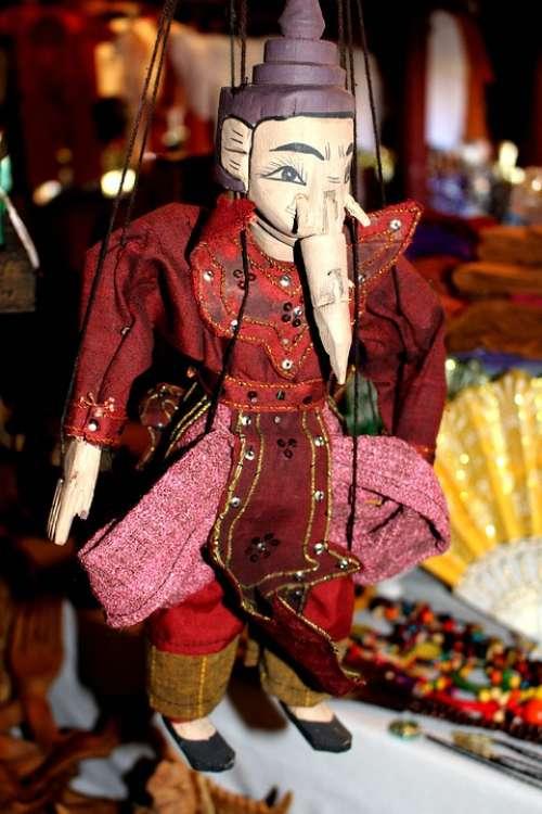 Ganesha Elephant Marionette Inle Souvenir Myanmar