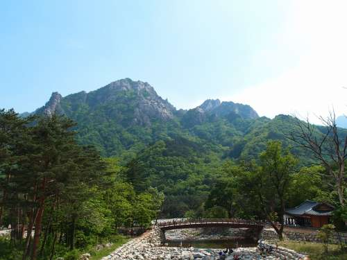 Gangwon Do Sokcho Mt Seoraksan Bridge Mountain