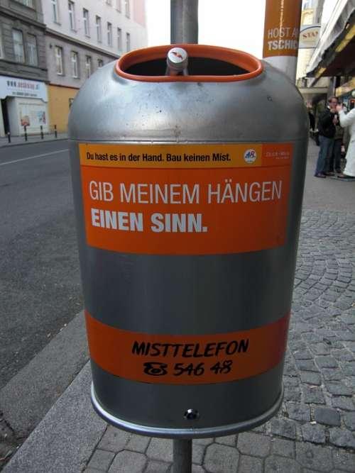 Garbage Can Vienna Austria Garbage Sense