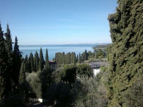Garda Trees Lake Sky View Water Mood