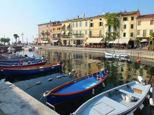 Garda Port Water Italy Mood Boats Travel Summer