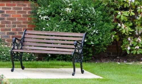 Garden Bench Seat Wood Wooden Wrought Iron Iron