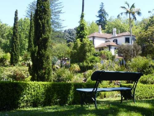 Garden Garden Bench House Rest Botanical Garden