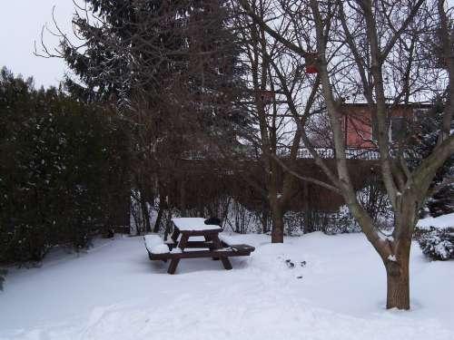 Garden Winter Rest Garden Garden Bench Picnic Table