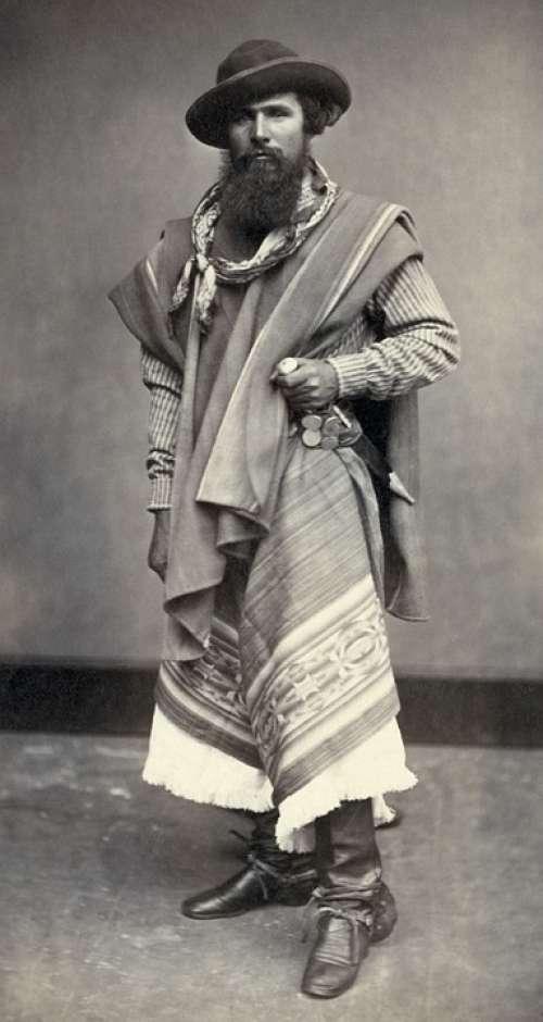 Gaucho Indio Argentine Man Black And White 1868