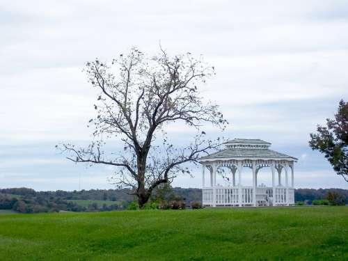 Gazebo Pavilion White Shelter Field Green Wooden