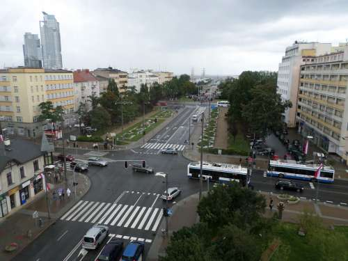 Gdynia Street View From Above The Intersection City