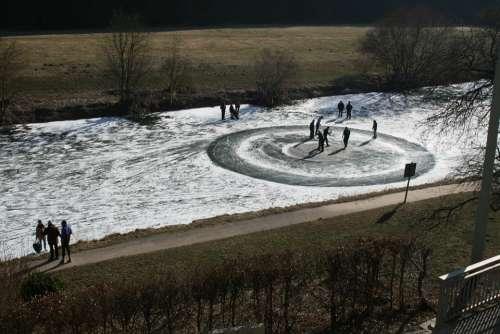 Geilnau Winter River Ice Frozen Human Walk