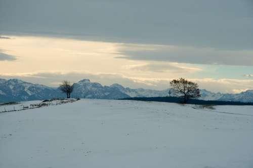 Germany Nature Bavaria Landscape Mountains Snow