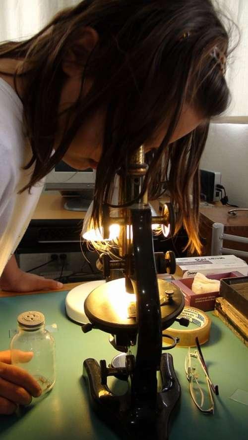 Girl Microscope Science