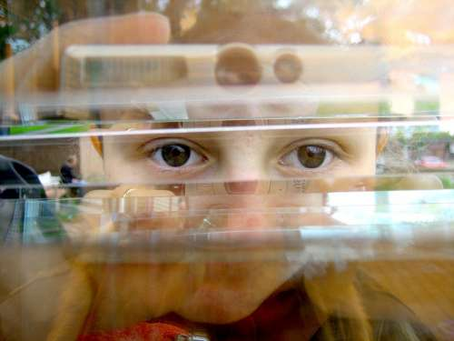 Girl Eyes Optical Deception Glass Abstract