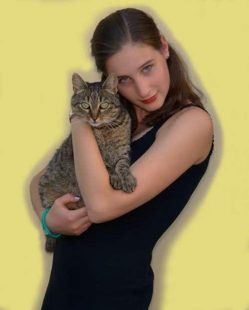 Girl Cat Person Portrait Yellow Animal Klára