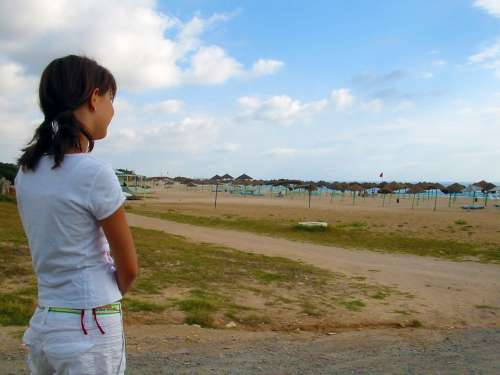 Girl Viewing Desert Beach Sky Blue Clouds