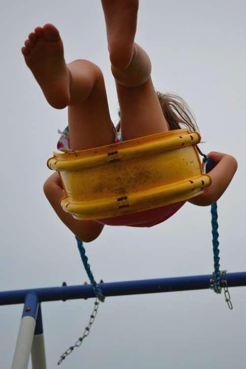 Girl Swing Barefoot Feet Swinging Female Summer