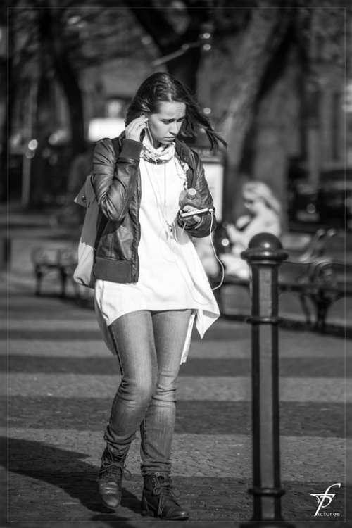Girl Woman Street Life Downtown Black And White