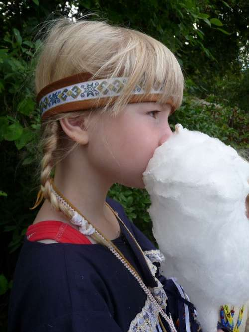 Girl Indians Carnival Cotton Candy Blond Child
